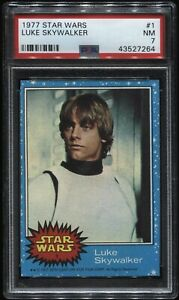 1977 Topps Star Wars #1 Blue Luke Skywalker PSA 7 NM++ ( Mark Hamill)