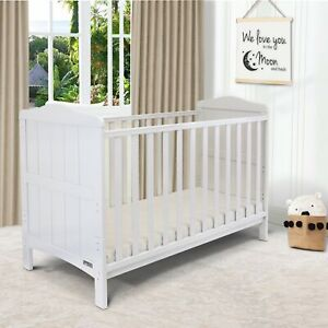 iSafe Baby Cot Bed Toddler Bed Junior CotBed Monika (White) (Including Mattress)