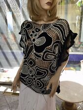 Lim'S Vintage All Hand Crochet Kaftan Style Wide Neck Top Black One size M to L