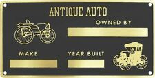 Universal Antique Auto Owners Brass ID Tag / Data Plate w/ Rivets Car Truck USA