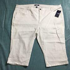 Chaps Capris Size 24W White Cropped Stretch Denim Casual Plus NWT
