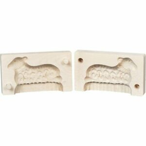 German Hand Made Finely Carved 2 Piece Butter Mold Lamb Design