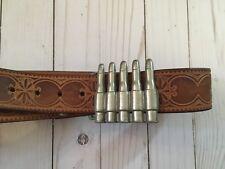 Leather Belt with Bullets Belt Buckle ~ Nice Detail ~ Bullet Belt Buckle
