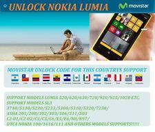 UNLOCK CODE FOR MOVISTAR NOKIA LUMIA 1520 1320 1020 520 620 640 720 735  930