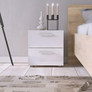 White High Gloss 2 Drawer Nightstand- Oak - Bedroom- Bed stand - Side Table