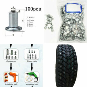 100x Car Bike ATV Tire Studs For Holes Wheel Tyre Screw Snow Spikes Chains Studs