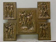 Bronzeplatte Akte in 5 Ansichten Fritz During 1910-1993 wohl 30er Jahre Museal