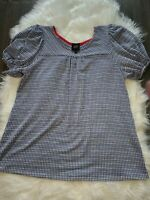 Anthropologie W5 Short Puff Sleeve Scoop Neck Blouse Blue And White Size Small