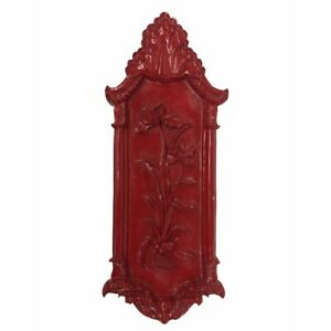 Vintage Large Red Floral Wall Plaque Hanging Decor Resin (30 x 11 inches)