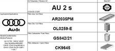 AU2S KIT 4 FILTRI TAGLIANDO AUDI A4 2.0 TDI 103 KW 140 CV BLB BNA BRE BRF