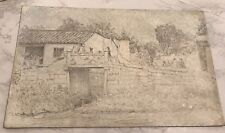 ANTIQUE DRAWING  OF BRIDGE IN TOWN MYSTERY ARTIST ?