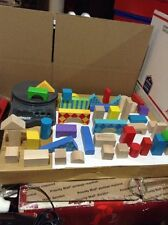 Wooden Building Blocks 96 Piece Set Color & Natural Kids Wood Toys Playschool