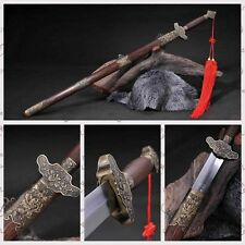 "Handmade Chinese Sword ""Taiji Sword""(劍) Carbon Steel Blade Rosewood Sheath#0215"