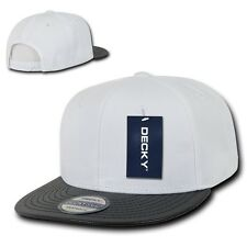 White & Black Solid Blank Flat Vinyl Bill Snapback Hip Hop Baseball Ball Cap Hat