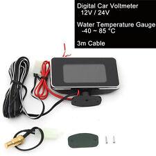 9V-36V Car 2 in 1 LCD Digital Display Voltmeter Gauge / Water Temp Temperature
