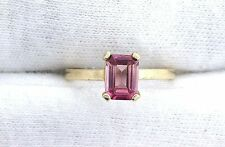 14Kt REAL Yellow Gold 7x5 Emerald AAA Pink Tourmaline Gemstone Gem Ring Sz 4.75