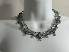 """Colleen Toland 18"""" Floral Necklace Blue Flowers Glass Beads Sweet!! w Tags"""