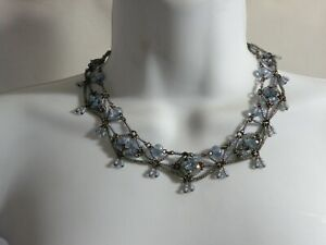 "Colleen Toland 18"" Floral Necklace Blue Flowers Glass Beads Sweet!! w Tags"