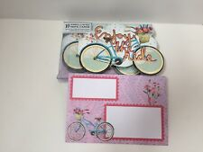Punch Studio Enjoy The Ride Bike Note Card Set ~ 10 Embellished #64553- New