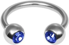 Two Royal Blue Gem Circular Barbell Stainless Steel Ring 14 Gauge Ships from US
