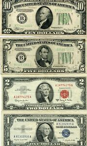 1934-A $10, 1934-D $5, 1963-A $2 & 1957-A $1 NICE NOTE GROUP..STARTS@ 2.99