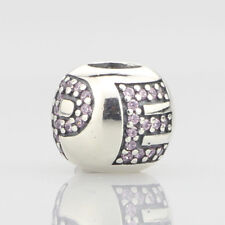 European Pandora Silver Charm Surrounded by hope, pink cz