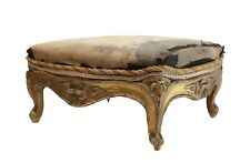Small upholstered footstool Louis Xv style gilt carved wood circa 1900
