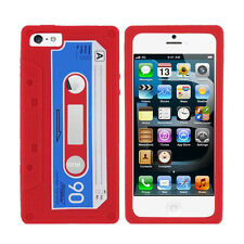 Red Cassette Silicone Skin Case Cover for iPhone 5 / 5S