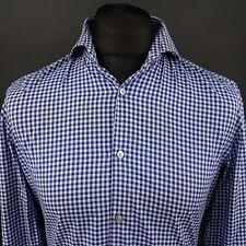 HUGO BOSS Mens Shirt 39 15.5 (SMALL) Long Sleeve Blue SLIM FIT Check Cotton