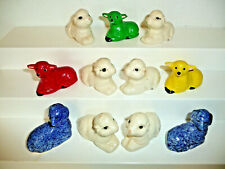 Vintage Lot 11 Ceramic Porcelain Figures Lambs Sheep White Red Yellow Green Blue