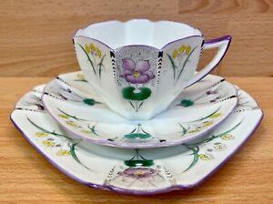 "Shelley Queen Anne Shape ""Pansies"" Pattern 11629 Tea Cup Trio."