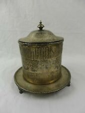 Antique Silver Plated Tea Caddy Biscuit Barrel