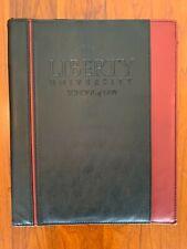 Liberty University Portfolio Folder Notepad Holder Lu Flames Black Burgundy Used