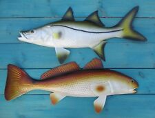 "Redfish Snook Hand Painted 28"" Replica Wall Mount Game Fishing Salt Water"