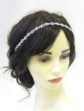 Silver Diamante Headband Headpiece Hair Vine Vtg Bridal  Rhinestone Wedding 836