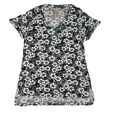 Philosophy Womens Small Pima Cotton V Neck Floral T Shirt Top Tee Black White
