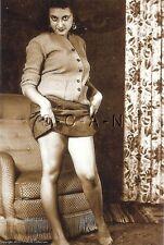 1940s-60s Sepia (4 x 6) Repro Risque Pinup Photo- Stunning Vixen- Sweater- Skirt