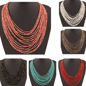 Bohemian Long Handmade Beads Chain Ethnic Statement Necklace Boho Pendant Women