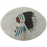 Indian Chief Inlaid Turquoise Coral and Shell Silver Belt Buckle