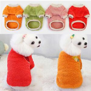 Cute Pet Dog Clothes Warm Fleece T Shirt Fruit Print Small Cat Puppy Vest Coat