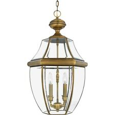 Quoizel 4 Light Newbury Outdoor Pendant in Antique Brass - NY1180A