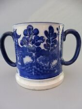 More details for antique doulton burslem twin handled blue willow loving cup