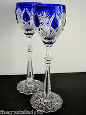 """2 Faberge Czar Imperial Cobalt Blue Cased Cut To Clear 10 5/8 """" Wine Goblets"""