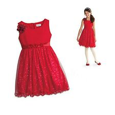 American Girl CL MY AG SPARKLE PARTY DRESS SIZE XS 6 NEW Red Flower Glitter