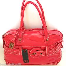 NEW-RED BY MARC ECKO JOURNEY QUIL PATENT LEATHERETTE HANDBAG,SATCHEL BAG