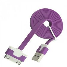 Noodles USB Cable for iPhone 4S 4 3GS iPad 2 3 Data Charger Purple Lead