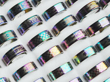 30pcs/Lot Wholesale Mixed Jewelry Resale Arc Rainbow Color Stainless Steel Ring
