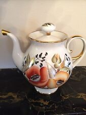 RUSSIAN HAND MADE PORCELAIN HAND PAINTED TEA POT WITH 22KT GOLD TRIM