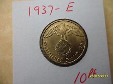 ALLEMAGNE 10 reichspfennig 1937-E laiton date Clé Troisième Reich Coin WW2 PF Pfennig