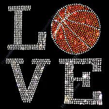 "Rhinestone Transfer "" Love Basketball "" Iron On, Hotfix , Bling Mom"